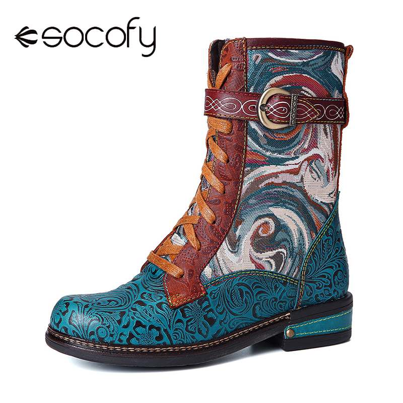 SOCOFY Botas Mujer Embossed Genuine Leather Splicing Fancy Pattern Lace Up Zipper Flat Short Boots Ladies Shoes Women Winter