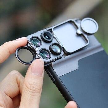 Phone Lens Case Multifunctional Macro Fisheye 2X Telephoto Angle Lens Phone Case Lenses Full Coverage for iPhone 11 Pro Max