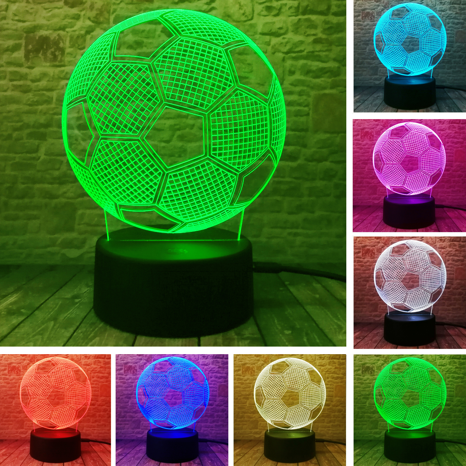 3D Stylish LED Lamp Touch Sensor Football Shaped 3D Night Light For Soccer Sports Fans Best Gift 7 Color Changing Lighting Lamp