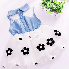 Summer New 2018 Girl Cowboy Gauze Flower Dresses, Princess Newborn Baby Infant Clothing Lace Dress Party Clothes For Children(China)