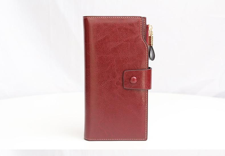 Pochette longue en cuir véritable pour femme, portefeuille pour téléphone portable, pièce de monnaie, de marque