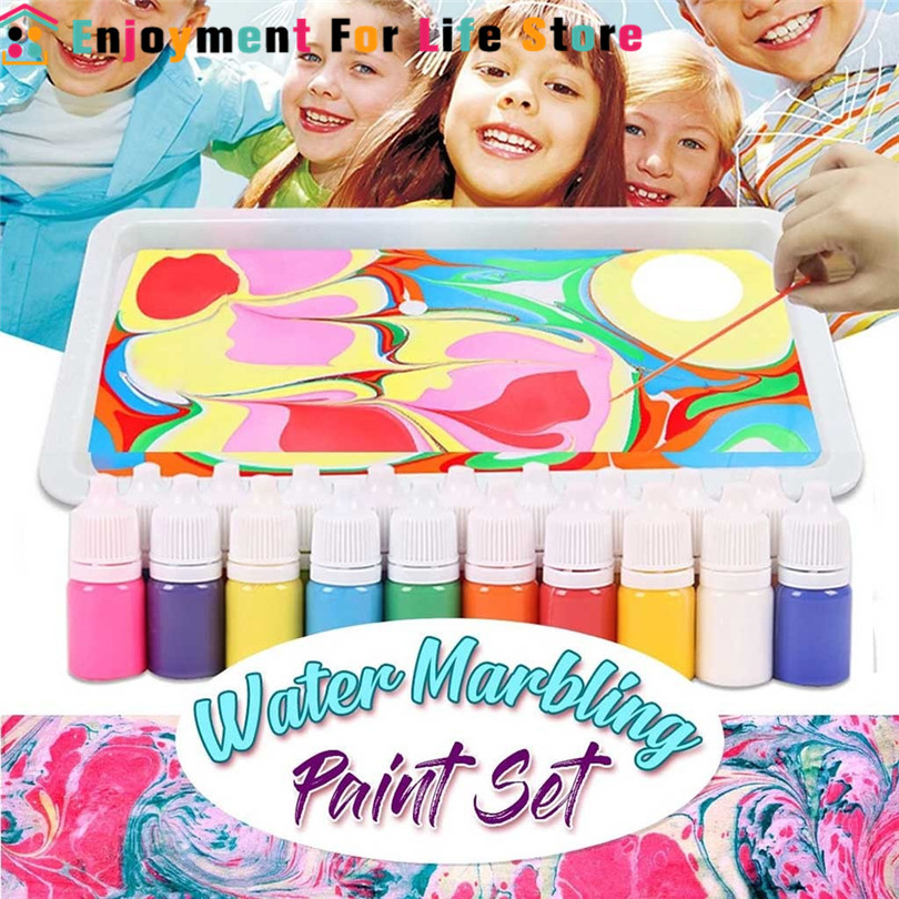 Kids Water-based Art Paint Set Marbling Painting Kit DIY Painting On Water Creative Art Set Of 6 Colors Acrylic Paint  #3N16