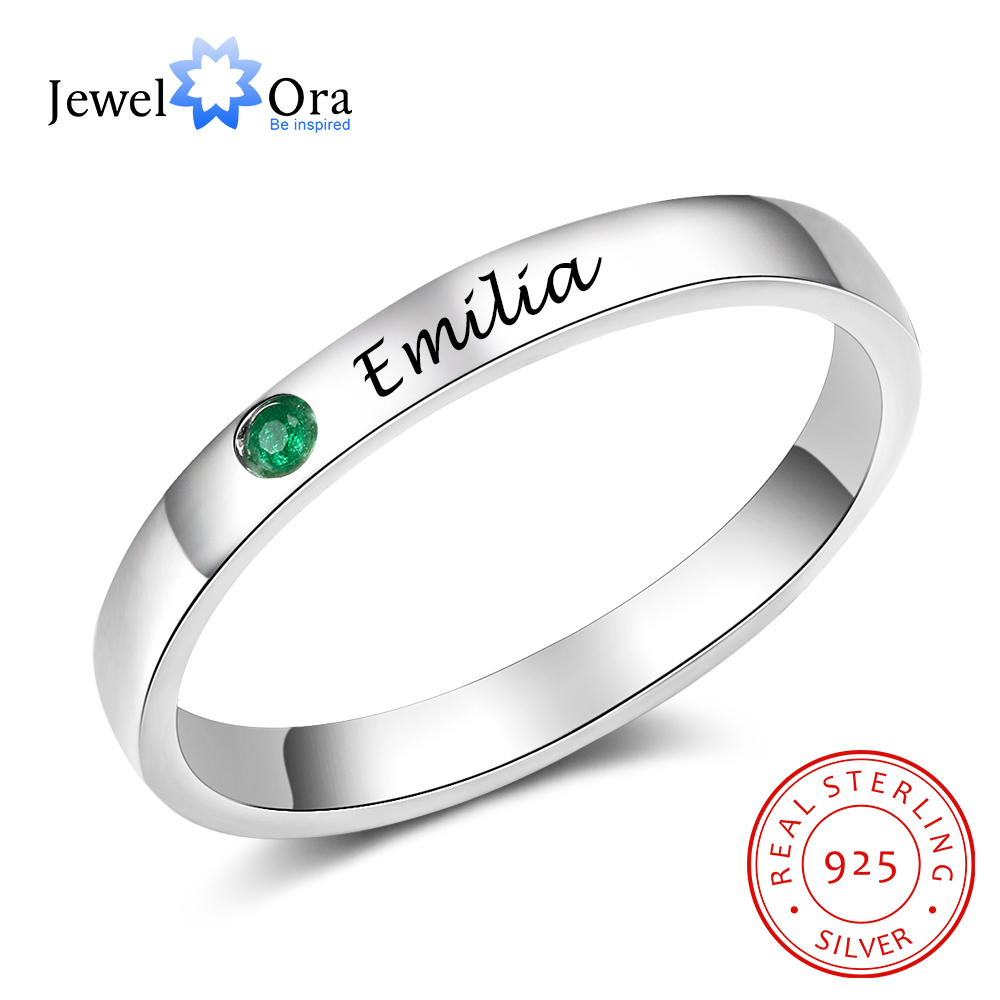 JewelOra 925 Sterling Silver Personalized Name Ring With Birthstone Custom Name Engraved Silver 925 Rings For Women Fine Jewelry