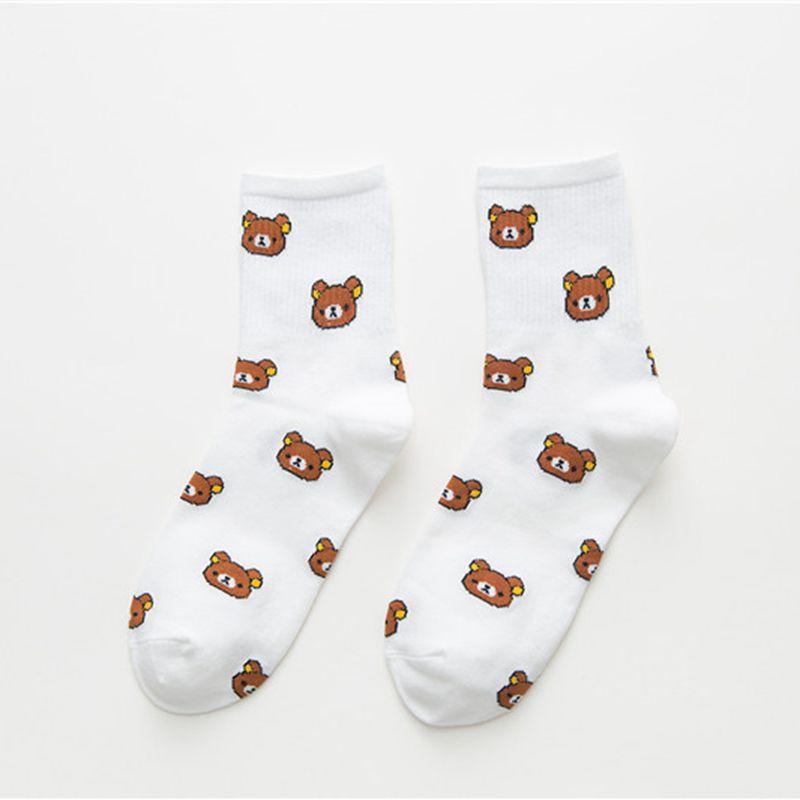 1 пара милых женских носков средней длины с вертикальными полосками из мультфильмов японские повседневные теплые носки средней длины на
