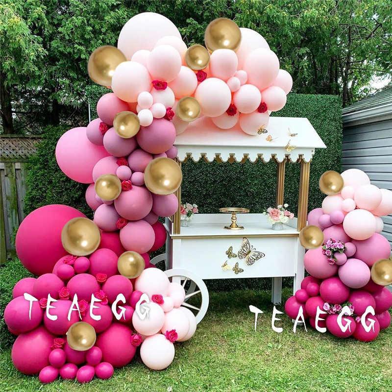 150 قطعة معدني الذهب بالون جارلاند قوس عدة لعيد ميلاد استحمام الطفل حفلات الزفاف الديكور ريترو الوردي بالونات خلفية