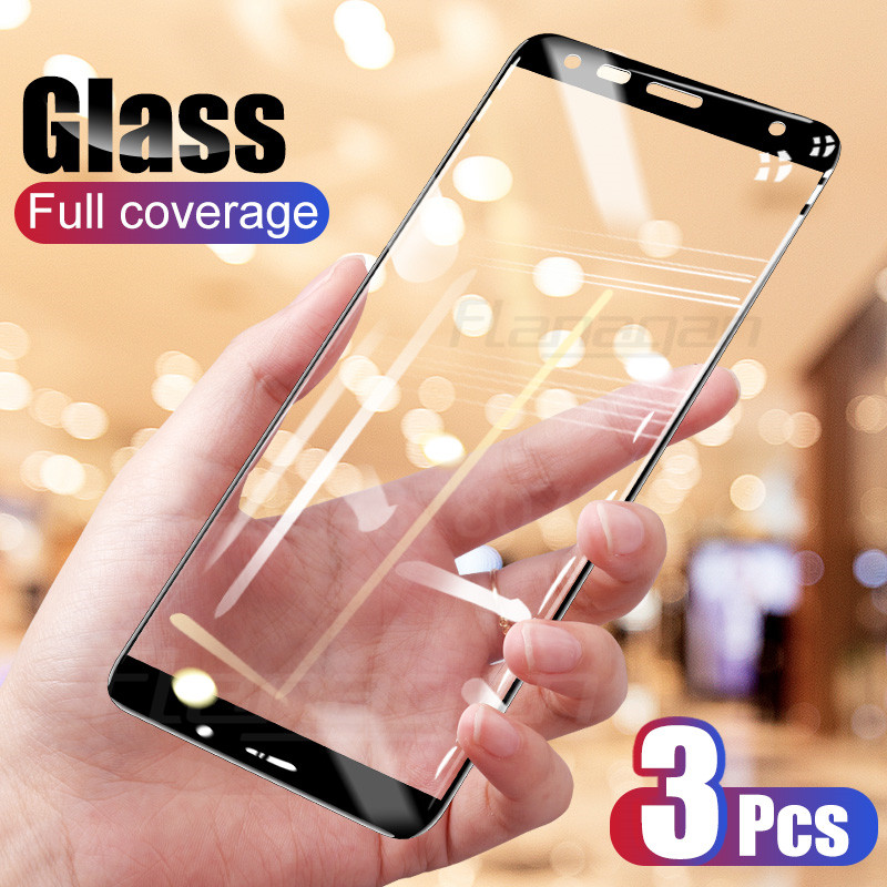 3 Pcs Tempered Glass For Samsung Galaxy A7 A9 2018 J6 A6 A8 J4 Plus Screen Protector For Samsung A3 A5 A7 2017 Glass Film