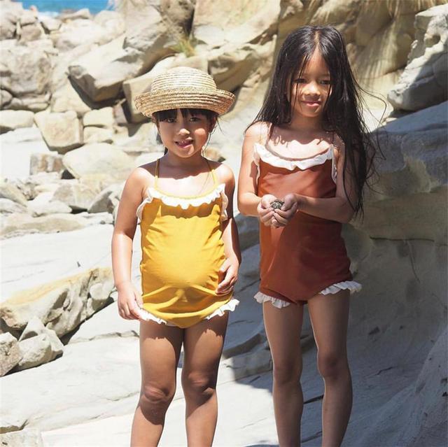 Dziecko dzieci dziewczyny jednoczęściowy strój kąpielowy małe dziewczęce Bikini kostium plażowy stroje kąpielowe stroje kąpielowe strój kąpielowy tanie i dobre opinie NoEnName_Null Pasuje prawda na wymiar weź swój normalny rozmiar spandex Stałe