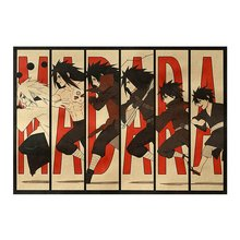 Clássico Figura Naruto Sasuke Dor Pintura Neji Anime Poster Vintage Decoracion Wall Art Papel Kraft Cartazes Adesivos de Parede