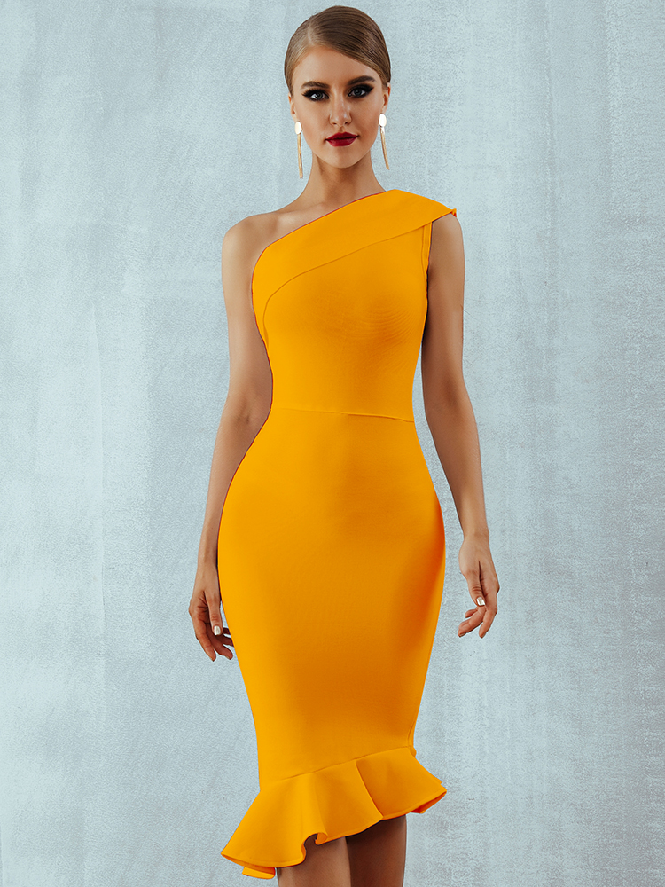 Bandage Dress Celebrity Evening-Party-Dress Vestidos Ruffles One-Shoulder Summer Women