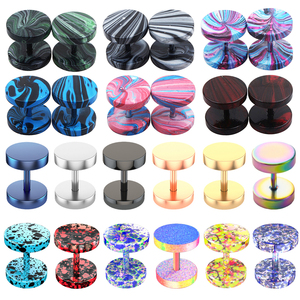Fake Plugs Faux Gauges Earrings for Men Women Stainless Steel Studs Circle Flat Back Cheater Tunnels Dumbbell Punk Ear Piercing(China)