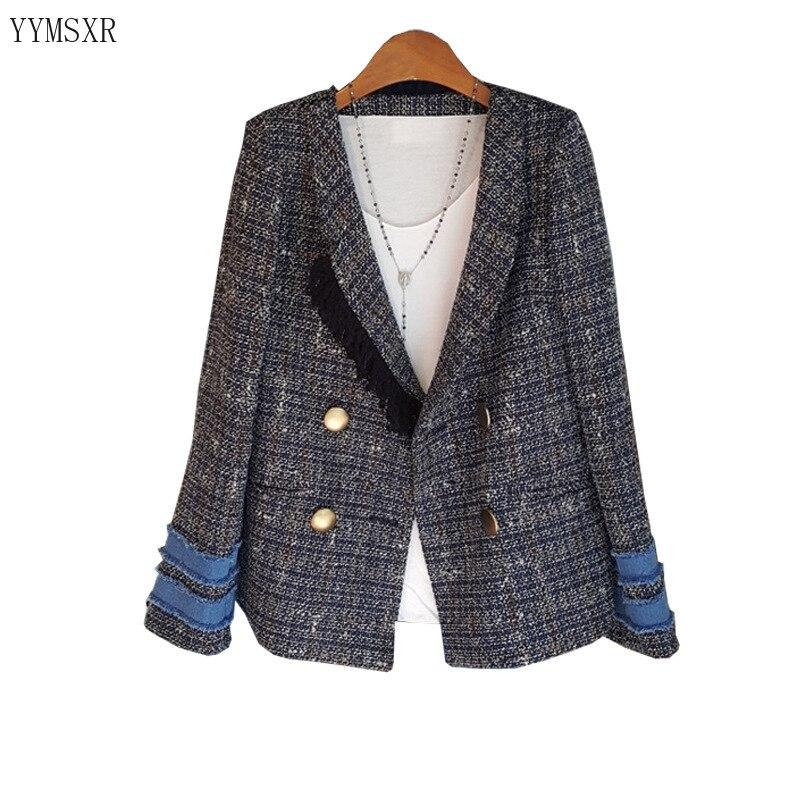 Casual high quality women's suit jacket feminine 2020 New Fashion Woolen Double-breasted Plaid Ladies Blazer Elegant coat girl