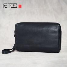 Aetoo мужские сумки из натуральной кожи мини клатчи ретро первый