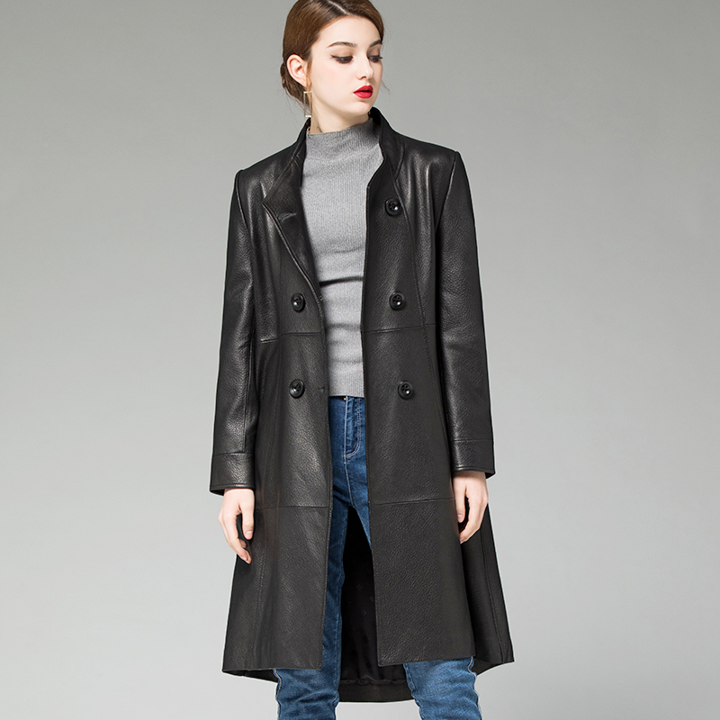 Coat Sheepskin 100% Female Genuine Leather Jacket 2020 Spring Autumn Jacket Women Long Trench Coats Chaqueta Mujer MY S