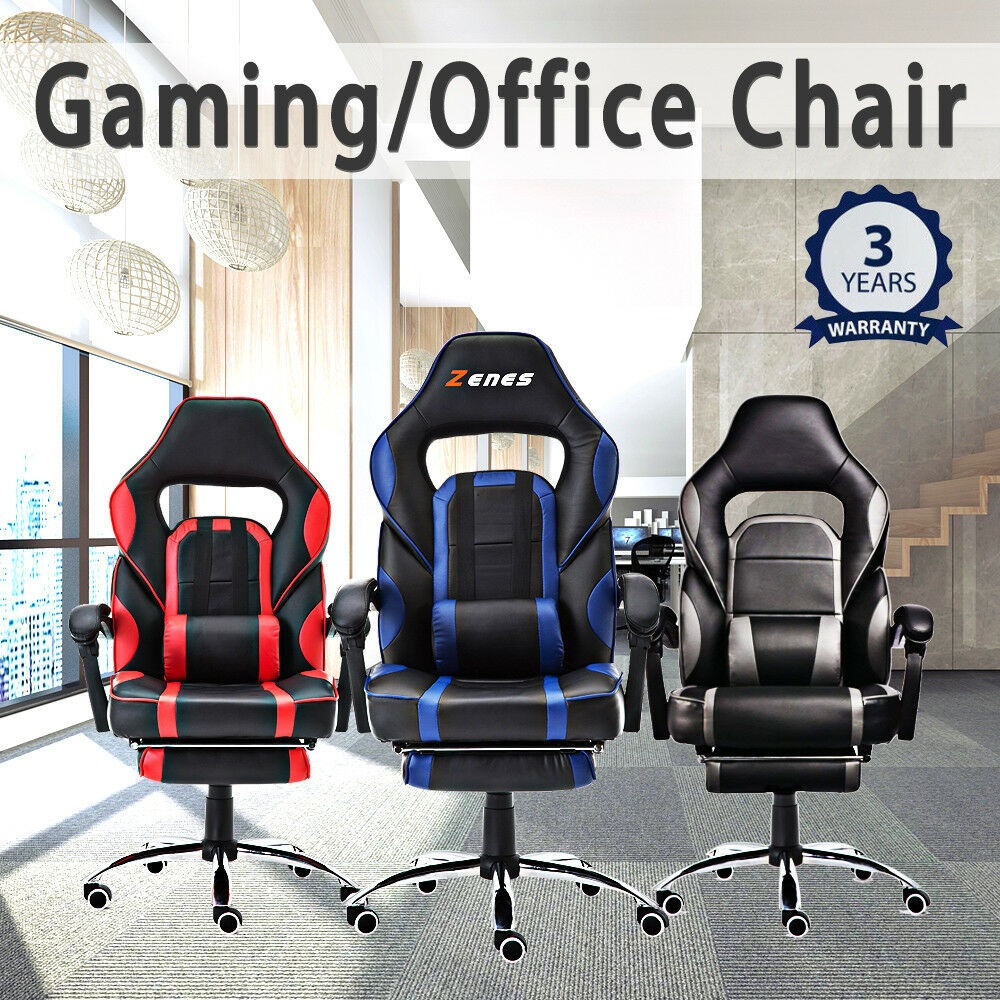 Lift Gaming Chair Swivel Office Chair Computer Seating Racing PU Leather Executive Racer Footrest