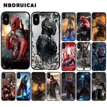NBDRUICAI Cute Cartoon Deadpool Spider-Man Smart Cover Black Soft Case for iPhone 11 pro XS MAX 8 7 6 6S Plus X 5 5S SE XR case spider man into the spider verse for funda iphone xs max case cover for case iphone 6s plus 5 5s se 6 7 8 plus xr x cases cover