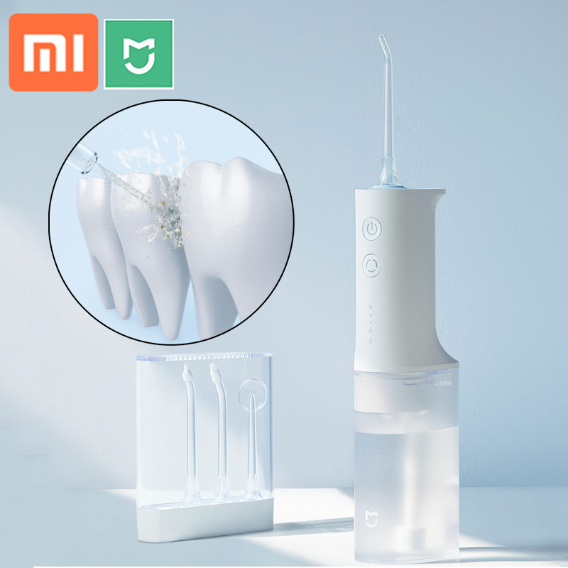 Xiaomi Electric Oral Irrigator IPX7 WaterProof Dental Water Jet Flosser 4 Modes Oral Cleaning W 4 Nozzles Memory Mouth Clean