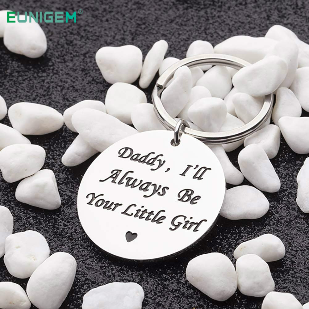 Best Gift for Dad Keychain Pendant - Daddy I Will Always Be Your Little Girl Stainless Steel Key Ring Pendant Father Day Gift image