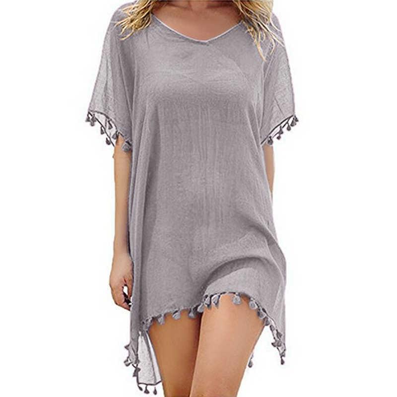 2020 yeni şifon püsküller plaj kıyafeti kadın mayo Cover Up mayo mayo yaz Mini elbise gevşek katı Pareo kapak ups