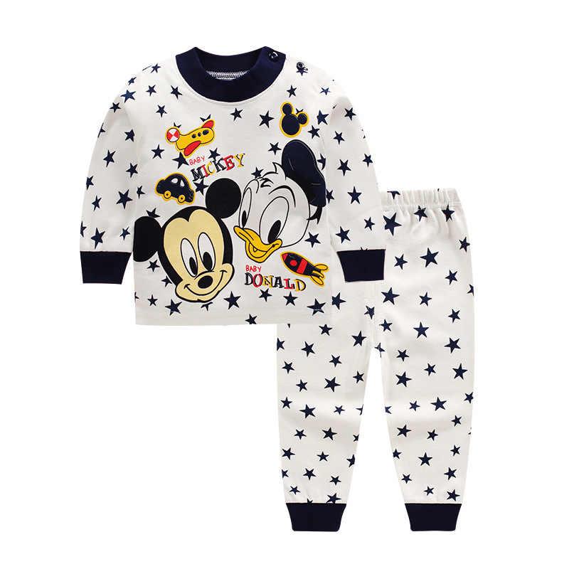 Детская ночная рубашка с Микки Маусом для маленьких девочек и мальчиков, повседневная одежда для малышей, одежда для сна халаты ночные пижамы Домашняя утепленная Пижама, комплекты