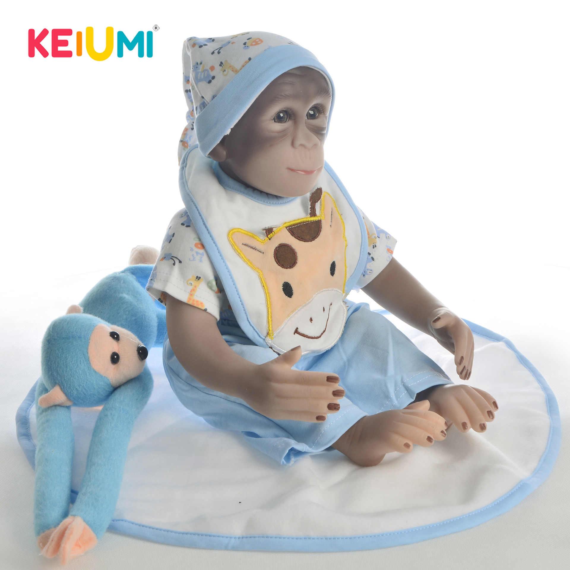 KEIUMI силиконовые перерожденные куклы младенцы, с тканью тела 48 см Reborn Baby с рисунком обезьяны из м/ф детский приятель для сюрприз