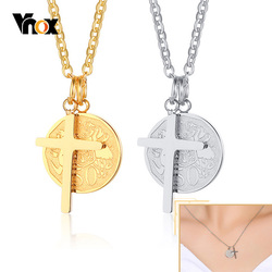 Vnox Cross Necklace for Women,Stainless Steel Elizabeth Coin Pendant,Gold Color Casual Girls Faith Jewelry