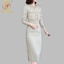 Роскошное дизайнерское подиумное платье, женские осенне-зимние платья с длинным рукавом, с бисером, в клетку, прямое твидовое шерстяное платье vestidos