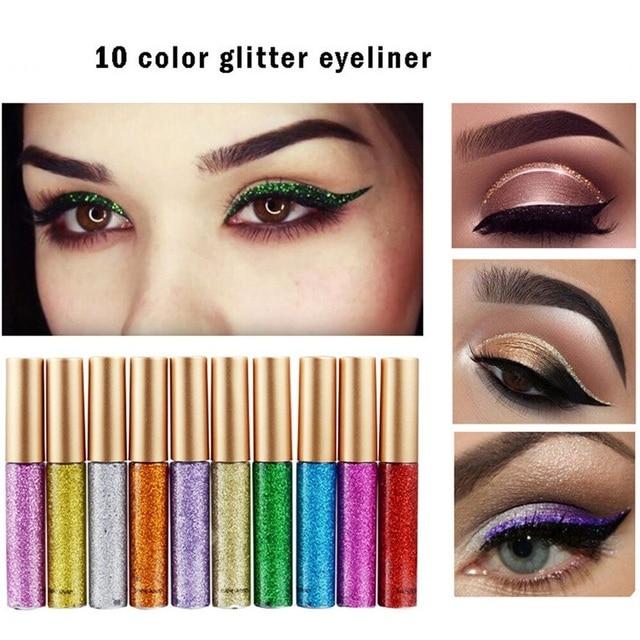 10 Colors Liquid Glitter Eyeliner Women Makeup Waterproof Eye Liner Easy to Wear Pigmented Red White Gold Korean Cosmetics TSLM2 1