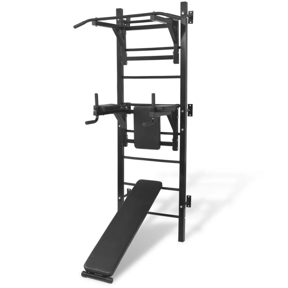 VidaXL Wall-mounted Multi-functional Fitness Power Tower Dip Station + Pull-up Bar +  Sit-up Bench Height Adjustable Power Rack