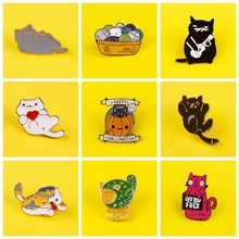 Cartoon Cute Cats Badges for Clothes Lovely Animal Enamel Pins for Backpacks Clothes Lapel Pin Badges on Backpack Set Badge Gift(China)
