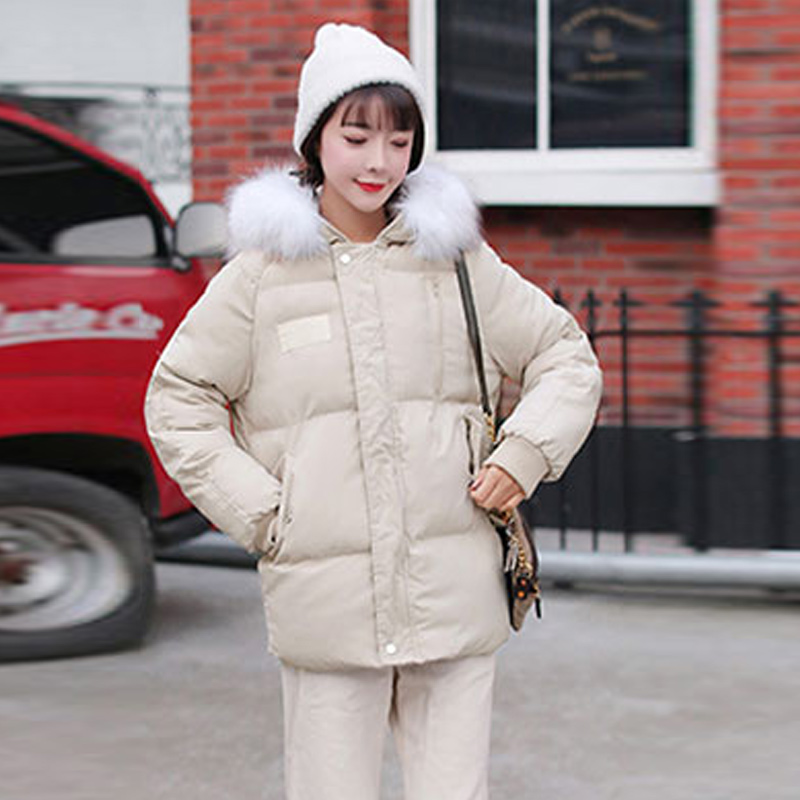2019 Autumn Korea Dongdaemun Autumn And Winter Cotton   Parkas   Female Large Fur Collar Loose Student Bf Cotton Coat