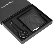 ساعة رجالية فاخرة محفظة مجموعة حزام من الجلد كوارتز ساعة معصم موضة التناظرية على مدار الساعة هدايا عيد ميلاد للأب زوج صديقها