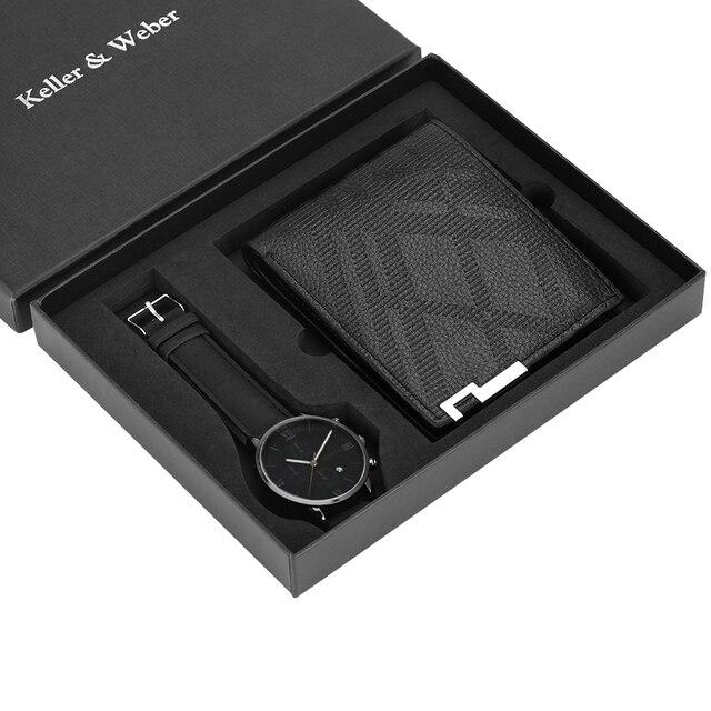 Hommes de luxe montre portefeuille ensemble bracelet en cuir Quartz montre bracelet mode analogique horloge cadeaux danniversaire pour père mari petit ami