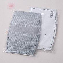 2 قطعة/الحقيبة 5 طبقات فلتر الكربون المنشط كفاءة الترشيح مكافحة الضباب الفم أقنعة استبدال مرشحات للفم دثر