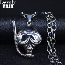 AFAWA 2020 Diving Stainless Steel Long Necklace for Men/Women Punk Silver Color Jewelry collar acero inoxidable mujer NZZ1S03 summer mermaid stainless steel long necklace men women silver color necklace jewelry collar acero inoxidable mujer nzz5s03