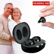 1 زوج USB قابلة للشحن ITE مساعدات للسمع مكبر صوت غير مرئية فقدان السمع للمسنين الصم