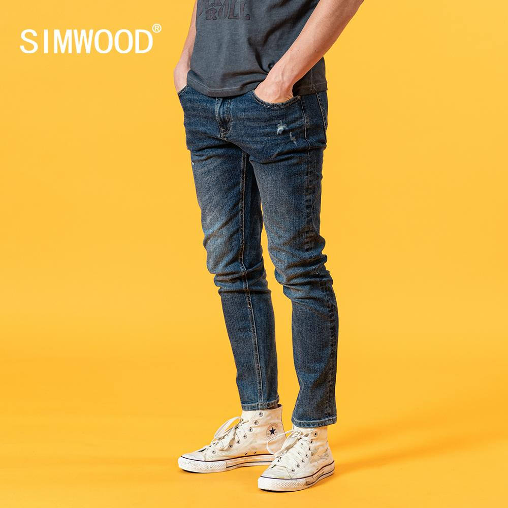 SIMWOOD 2020 Summer New Slim Fit Jeans Men Fashion Casual Ripped Hole Denim Trousers High Quality Plus Size Clothing SJ120388
