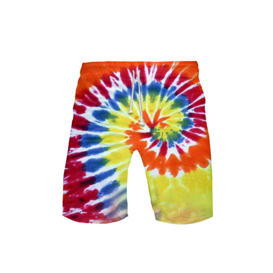 New 3D Tie Dye Colorful Spiral Swim Shorts Trunks Beach Board Shorts Swimming Pants Swimsuits Mens Running Sports Shorts