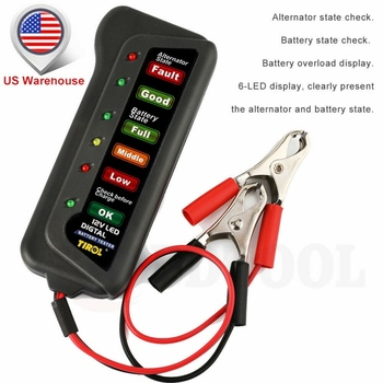 12V LED Car Battery Load Tester Alternator Analyzer Diagnostic Tool Auto Scanner image