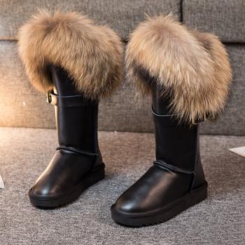 Nowe buty damskie zimowe Fox buty śniegowe futrzane oryginalne skórzane buty ze skórki cielęcej krowa kobiece antypoślizgowe wodoodporne ciepłe płaskie buty tanie i dobre opinie G ZaCo Luxury Futro Podkolanówki Stałe fox boots women Dla dorosłych Mieszkanie z Buty śniegu Pluszowe Skóra Split
