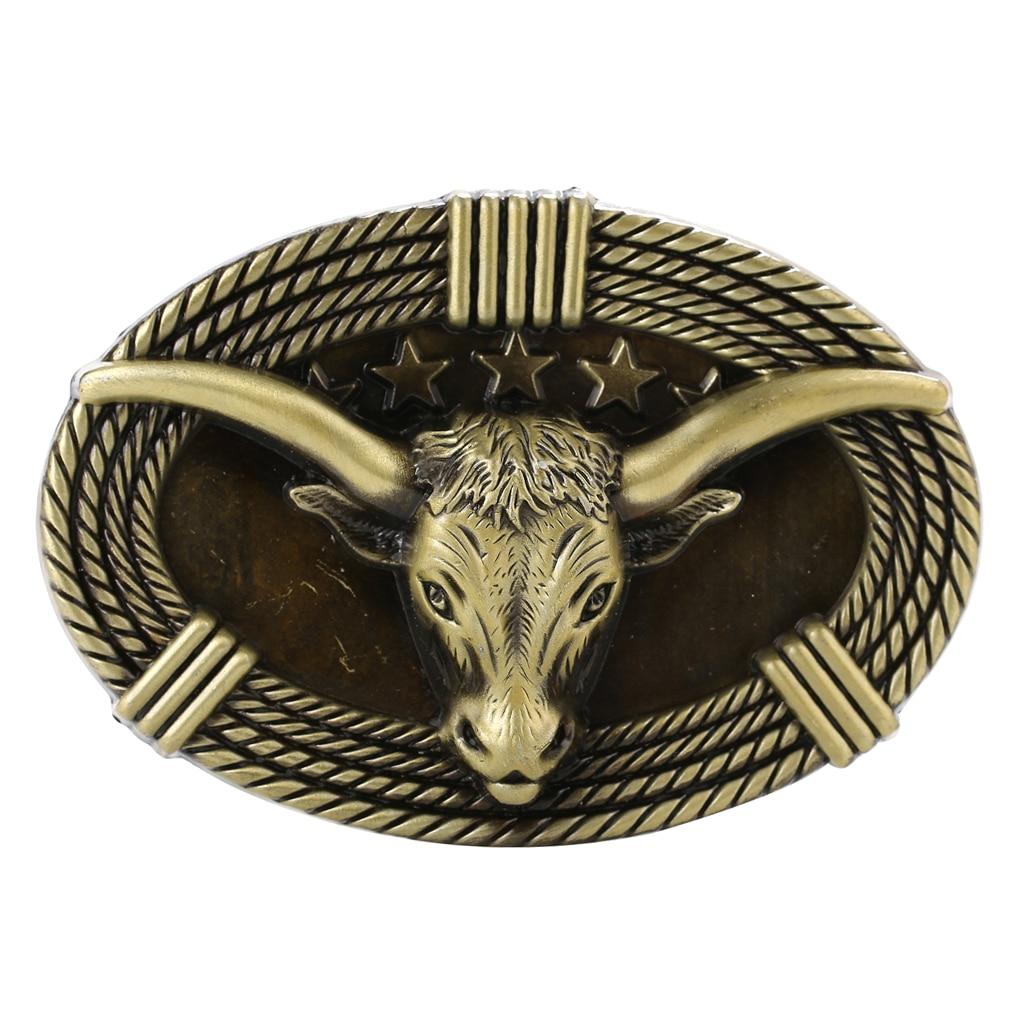 Antique Belt Buckle 3D Cow Head Western Cowboy Men Oval Jeans Vintage Buckle