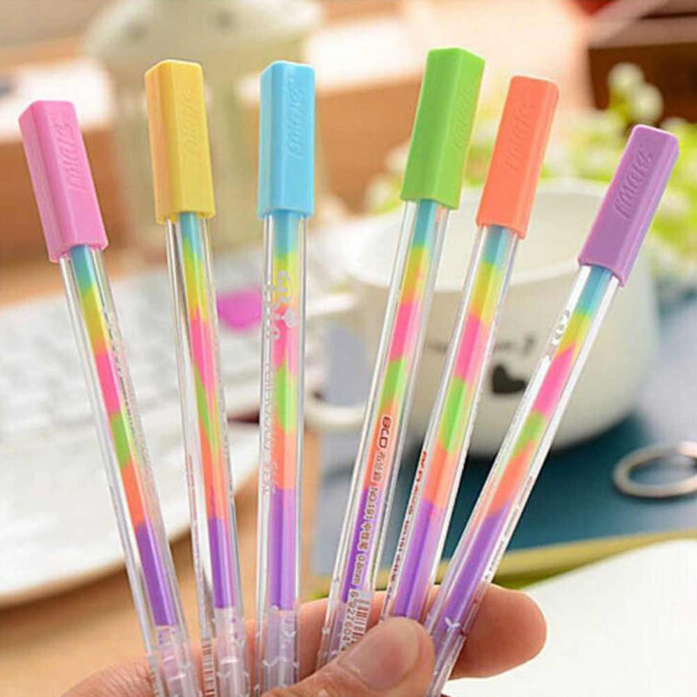 1pc 0.8mm arco-íris gel caneta multi cor rolo canetas fluorescência highlighter para papelaria de papel preto material escolar