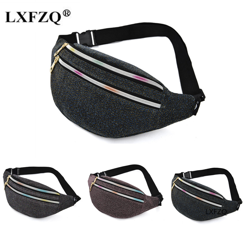 LXFZQ Pink Chest Bags Women Waist Bag New Brand Fashion Sequin Fanny Pack Casual Ladies Waist Pack Phone Purse Money Belt