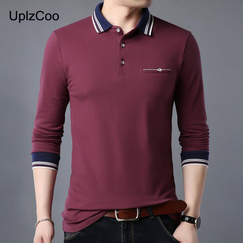 UplzCoo Men's Polo Shirt Spring Autumn Long Sleeve Shirt Solid Cotton Tees Slim Fit Trend Business Casual Male Tops 5Xl FM231