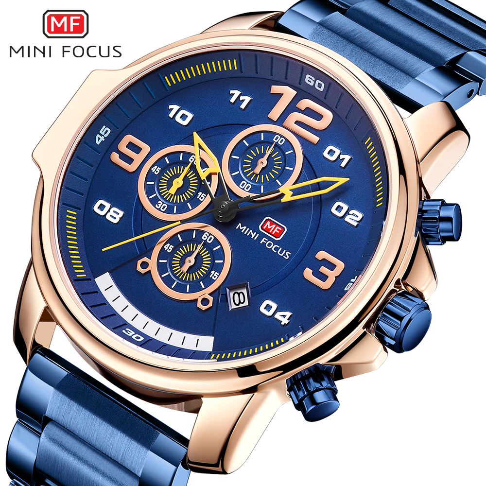 MINI FOCUS Chronograph Watch Men Sports Watches Mens 2019 Quartz Wristwatch Luxury Brand Business Stainless Steel Clock Male Hot in Quartz Watches from Watches