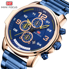 MINI FOCUS Chronograph Watch Men Sports Watches Mens 2019 Quartz Wristwatch Luxury Brand Business Stainless Steel Clock Male Hot цена