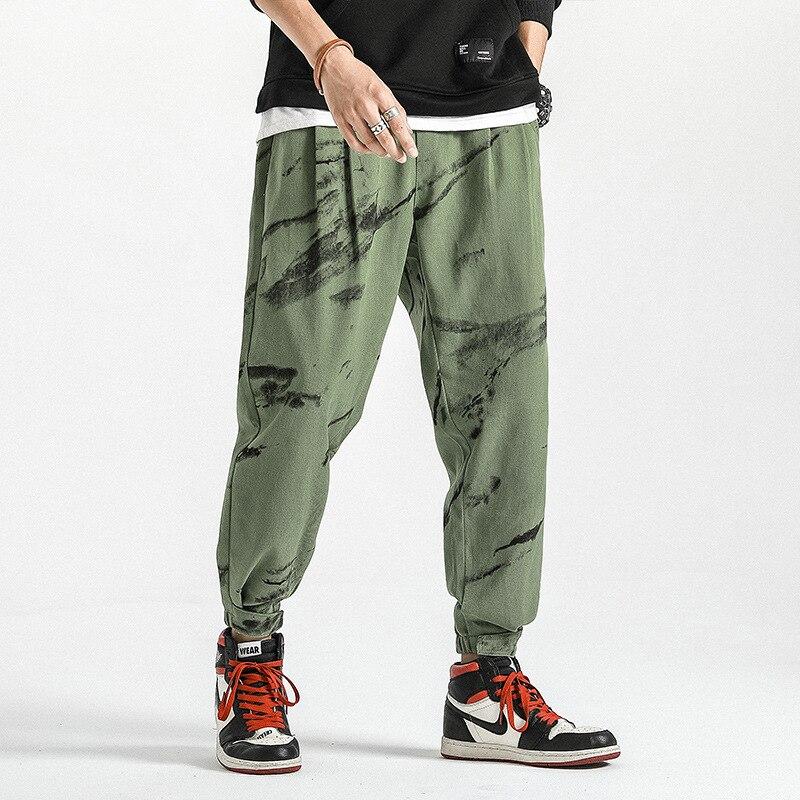Trend Pure Cotton Pants Men Loose-Fit Skinny Casual Pants Elastic Waist Drawstring Korean-style Beam Leg Velcro Fashion Men's Tr