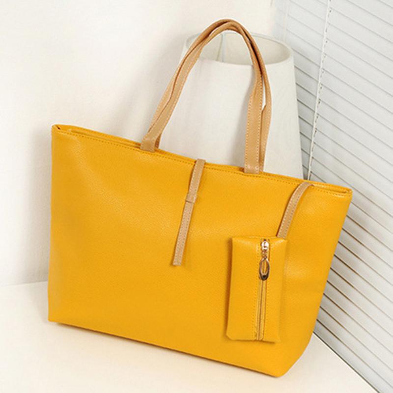 Women's Shoulder Female Bag Korean Fashion PU All-Matched Big Hand Bags Casual Tote Handbag Elegant Ladies Simple Handbags New