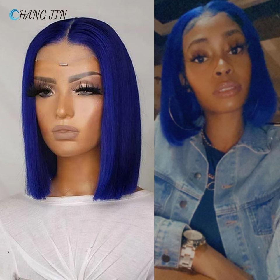 CHANGJIN Blue Color Glueless Lace Part Human Hair Wigs for Women Short Bob Perruque Lisse Brazilian Naturales Pre Plucked Peruc