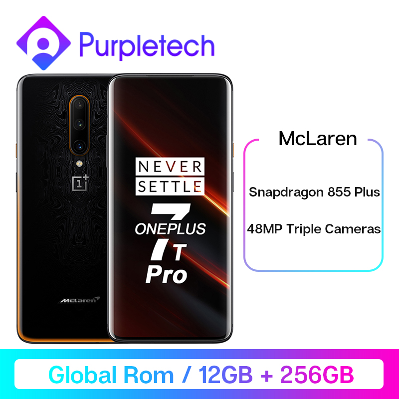 Global ROM OnePlus 7T Pro 8GB 12GB 256GB Mobile Phone 6.67 inch 48MP Triple Rear Cams Snapdragon 855 Octa Core Android 4085mA