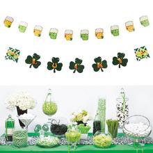 1pc St.Patricks Day Beer Mug Banner Shamrock Lucky Letter Irish Party Decorations Birthday Wedding Shower